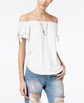 Ultra Flirt Juniors' Button-Trim Off-The-Shoulder Top