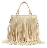 Win8Fong Women's Faux Leather Fringe Tassel Shoulder Bag Big Casual Tassels Hobo Handbag