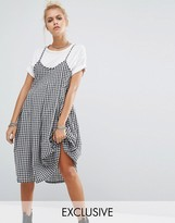 Milk It Vintage Pleated Cami Dress In Gingham
