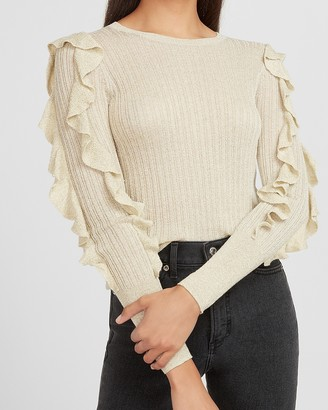 Express Metallic Ribbed Ruffle Sleeve Sweater