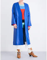 Loewe Ladies Blue Oversized Leather Coat