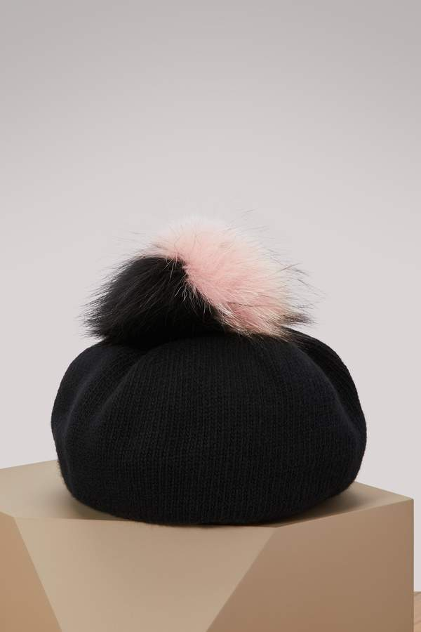 Miu Miu Wool and Cashmere Hat with Fur Pompom