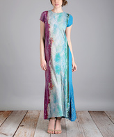Aster Blue & Burgundy Abstract Maxi Dress - Plus Too