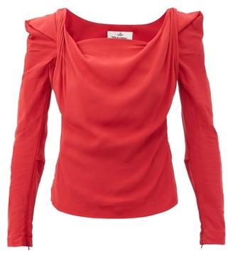 Vivienne Westwood - Elizabeth Cowl-neck Crepe-de-chine Top - Red