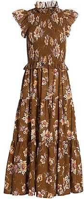 Sea Sylvie Smocked Floral Midi Dress
