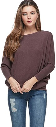 Alexander + David Womens Casual Pullover Dolman Long Sleeve Pullover Loose Fit Blouse Knit Top