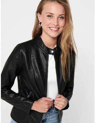 Only Zip-Up Jacket with High-Neck in Faux Leather