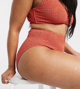 Peek & Beau Curve Exclusive recycled polyester textured high waist bikini bottom in rust
