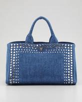 Prada Studded Denim Gardener's Tote Bag, Blue