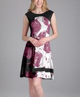 Aster Raspberry Floral Cap-Sleeve Dress - Plus Too