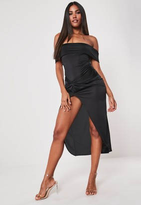 Missguided Black Slinky Bardot Twist Bodycon Midaxi Dress