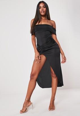 Missguided Black Slinky Bardot Twist Bodycon Midaxi Dress