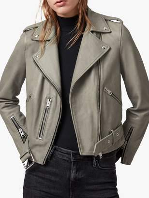 AllSaints Balfern Leather Biker Jacket, Duck Egg Blue