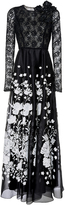 Andrew Gn Lace Sleeve Gown
