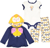 Buster Brown Navy & Yellow Owl Ruffle-Trim Hoodie Set - Infant