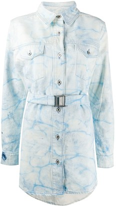 Off-White Bleached Denim Shirt Dress