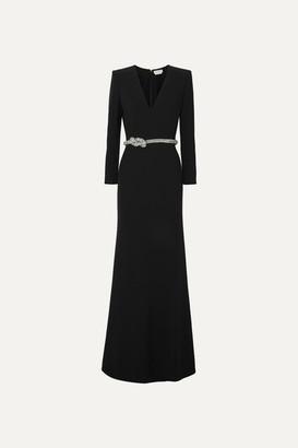 Alexander McQueen Crystal-embellished Belted Crepe Gown - Black