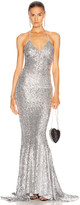Norma Kamali Sequin Low Back Slip Mermaid Fishtail Gown in Silver | FWRD