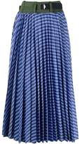 Sacai cotton poplin pleated skirt
