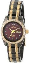 Sartego Women's SCBG62 Classic Analog Burgundy Face Dial Two-Tone Swarovski Watch