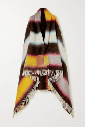 Loewe Leather-trimmed Fringed Striped Mohair-blend Wrap - Orange