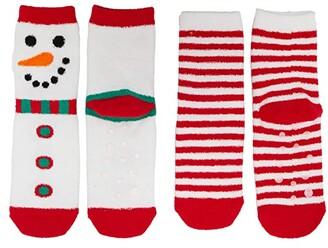 Jefferies Socks Snowman Stripe Fuzzy Slipper Socks 2-Pack (Infant/Toddler/Little Kid/Big Kid) (Red/White) Kids Shoes