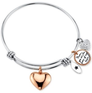 """Unwritten Mom, You're the Queen of My Heart"""" Charm Bangle Bracelet in Stainless Steel & Rose Gold-Tone"""