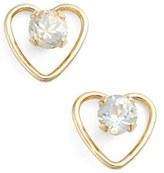 Girl's Kardee Jewelry Cubic Zirconia Heart Earrings