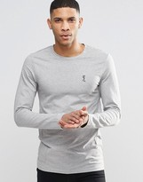 Religion Crew Neck Long Sleeve T-shirt in Muscle Fit
