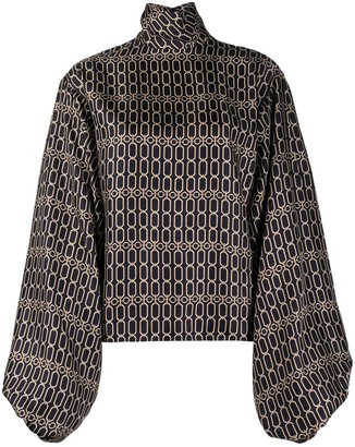 Victoria Beckham Chain-Print Bishop-Sleeves Blouse