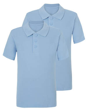 George Light Blue School Polo Shirt 2 Pack