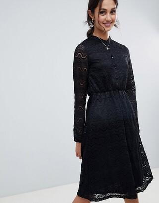 Yumi shirt dress in lace-Black
