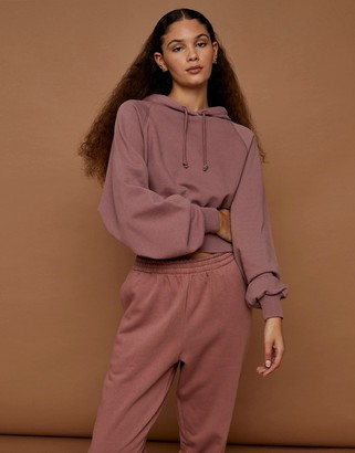 Topshop premium leisure bubble hem hoodie in rose