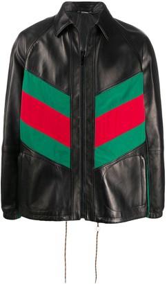 Gucci Web panel leather jacket