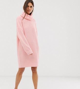 Micha Lounge oversized high neck jumper dress-Pink