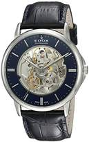 Edox Men's 'Les Bemonts' Swiss Automatic Stainless Steel and Leather Dress Watch, Color:Blue (Model: 85300 3 BUIN)