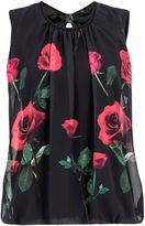 Quiz Black and Red Chiffon Rose Print Top