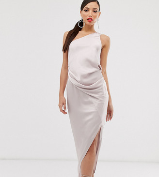 Asos Tall DESIGN Tall one shoulder drape midi dress in satin-Grey