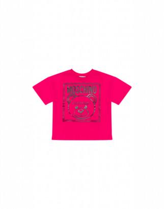 Moschino Teddy Label T-shirt Unisex Fuchsia Size 4a It - (4y Us)