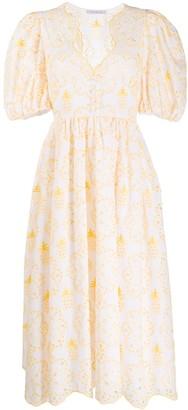 VIVETTA Embroidered V-Neck Dress