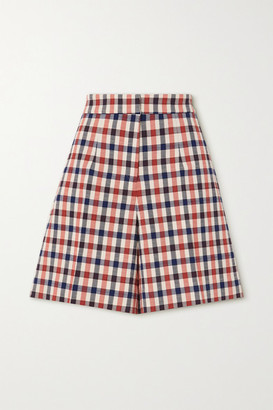 Victoria Victoria Beckham Checked Jacquard Shorts - Red