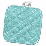 3dRose Anne Marie Baugh Patterns - Pretty White Daisies and Leaves On Turquoise Pattern - 8x8 Potholder (phl_169158_1)