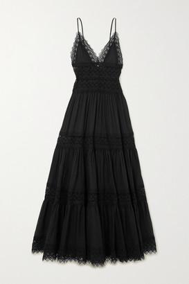 Charo Ruiz Ibiza Cindy Crocheted Lace-paneled Cotton-blend Maxi Dress - Black