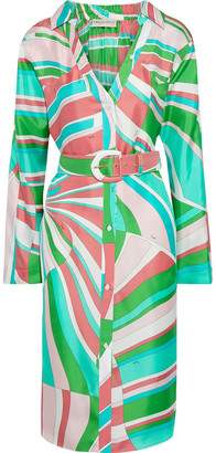 Emilio Pucci Belted Printed Silk-twill Shirt Dress