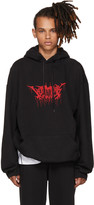 Vetements Black Oversized Metal Logo Hoodie