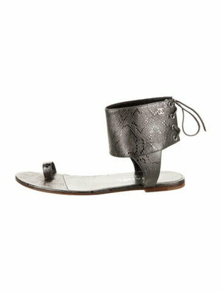 Chanel Leather Sandals Silver