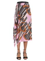 Carven Midi Foulard Silk Skirt