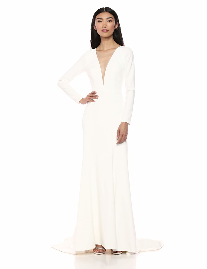Jenny Yoo Women's Blythe Fit and Flare Long Sleeve V Neck Crepe Gown