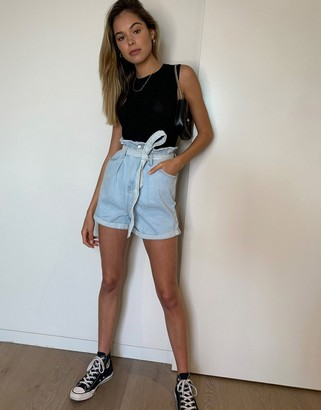 New Look paperbag tie waist denim shorts in light blue