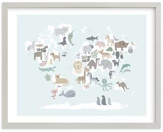 Pottery Barn Kids Wild World Map Wall Art by Minted